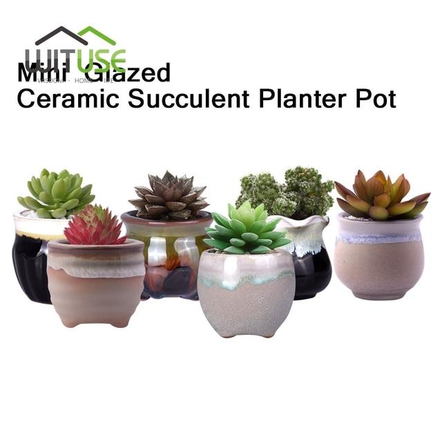 Ceramic Flower Succulents Plant Pot Tabletop Round Garden Planting Nursery  Pots Bonsai Home Decorative Accessory 2.3