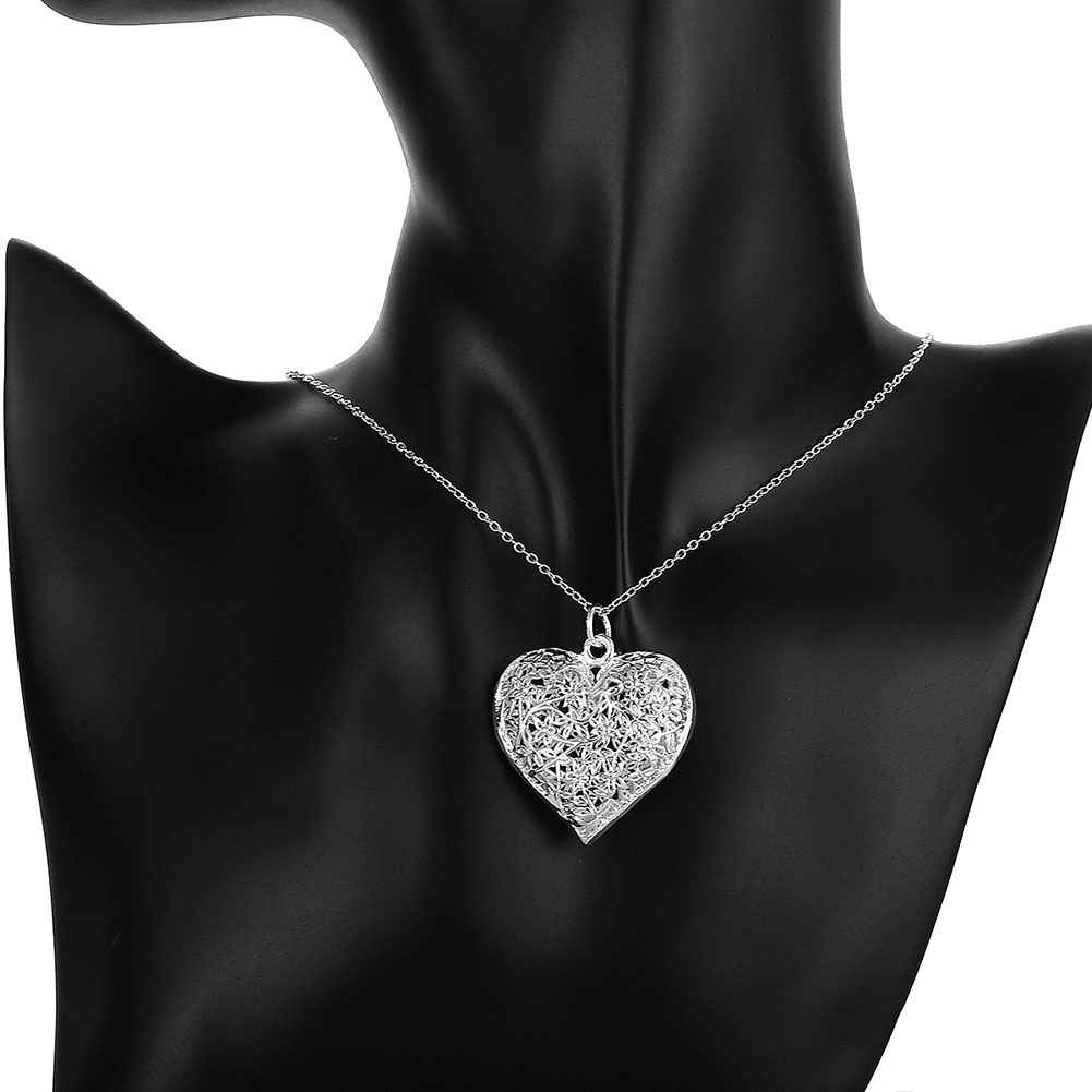 Kiteal silver plated elegant charm retro hollow heart pendant with kiteal silver plated elegant charm retro hollow heart pendant with 925 stamp 1mm 18 snake2mm 20 twist rope necklace chain in pendants from jewelry mozeypictures Gallery