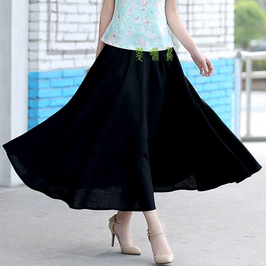 154173345f Shanghai historia Blend Lino Falda larga Primavera Verano Faldas estilo  chino bohemio sólido Faldas casual bandage falda longitud 80 cm
