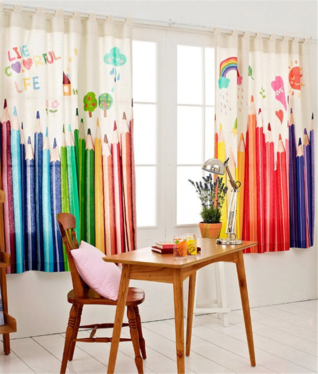 Mhsh Nordic Ikea Cartoon Width Height Meter Finished Curtain Rainbow Pencils Printed