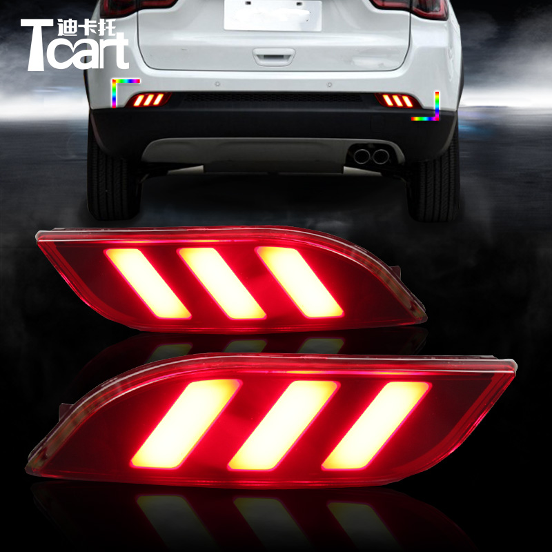 Tcart 2X Car Led Rear Bumper Lights Auto Led Driving lamp and Brake Light Two functions Warning Light For Jeep Compass 2017 2018 car rear trunk security shield cargo cover for jeep compass 2007 2008 2009 2010 2011 high qualit auto accessories