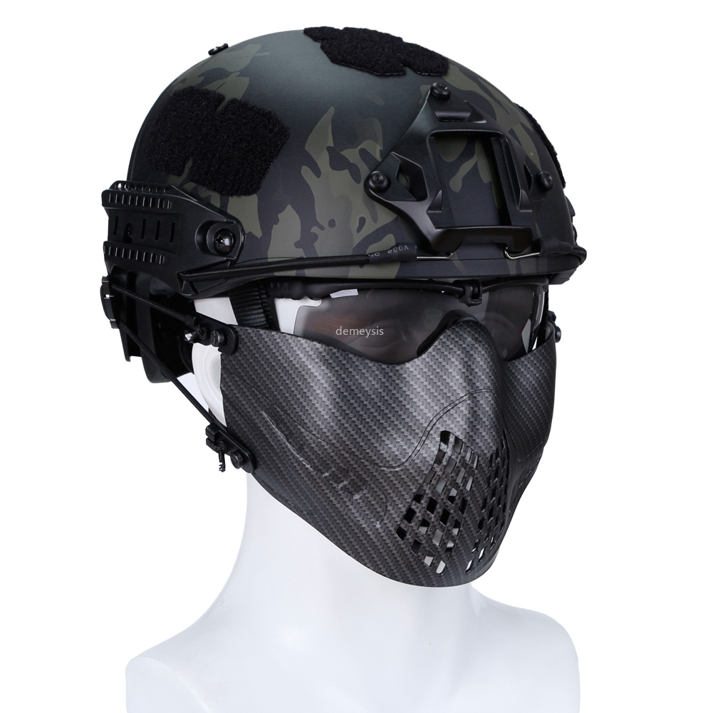 Military Wargame Half Face Mask CS Camouflage Tactical Mask Airsoft Hunting Protective Masks For FAST Helmet