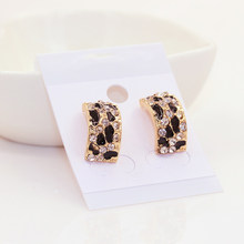 Black Round Hoop Simple Trendy Leopard Print Gold Color Jewelry Rhinestone Steampunk Charm(China)