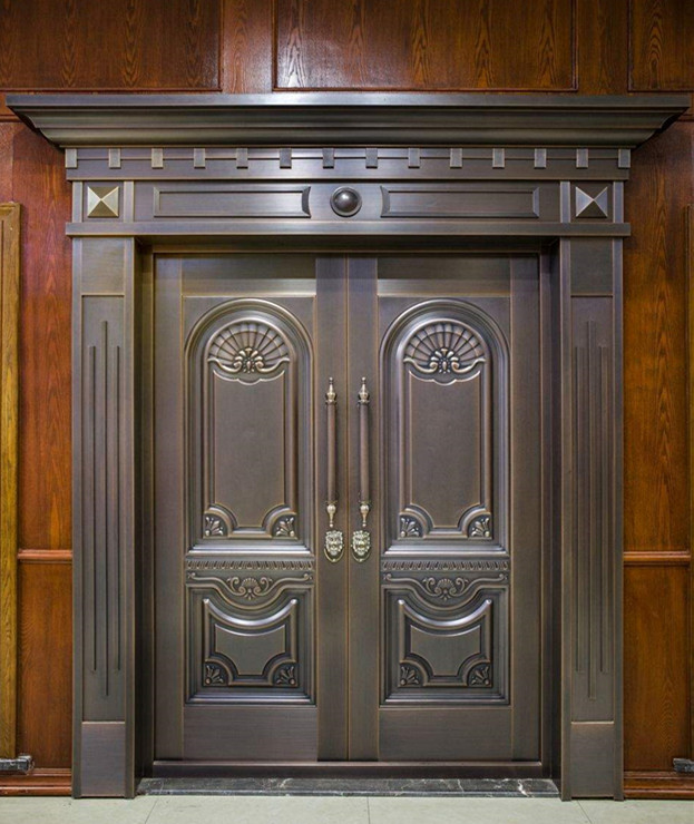 Bronze Door Security Copper Entry Doors Antique Copper Retro Door Double Gate Entry Doors H-c23