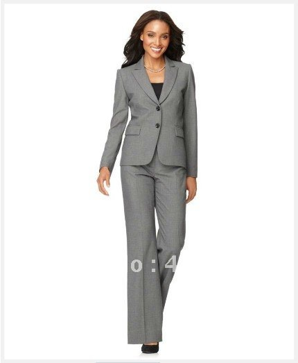 Popular Women Suit   Long Sleeve Jacket & Trouser Leg Pants    Gray Women Suit   Custom Made Women Suit  Accept Paypal  677