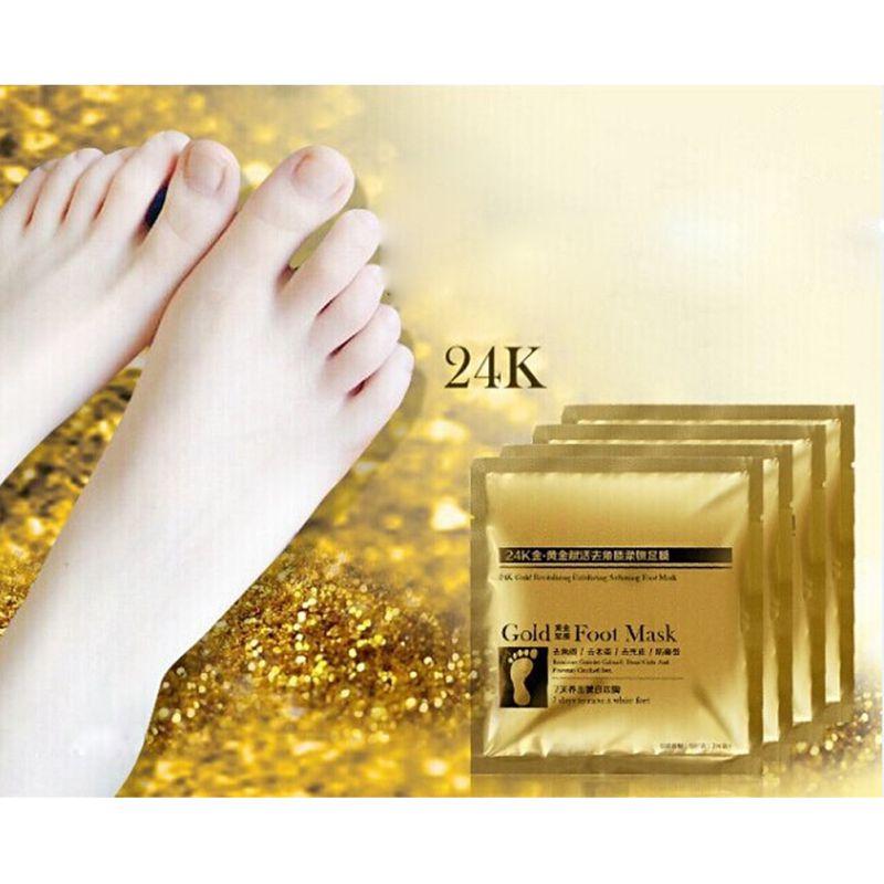 1Pack(=2Pcs) 24K Gold Foot Peeling Renew Mask Remove Dead Skin Cuticle Pedicure