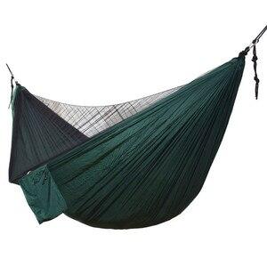 Image 2 - Ulatralightダブル蚊帳ハンモック簡単セットアップhamak 290*140センチメートル風のロープ爪ポータブルキャンプ旅行ヤード