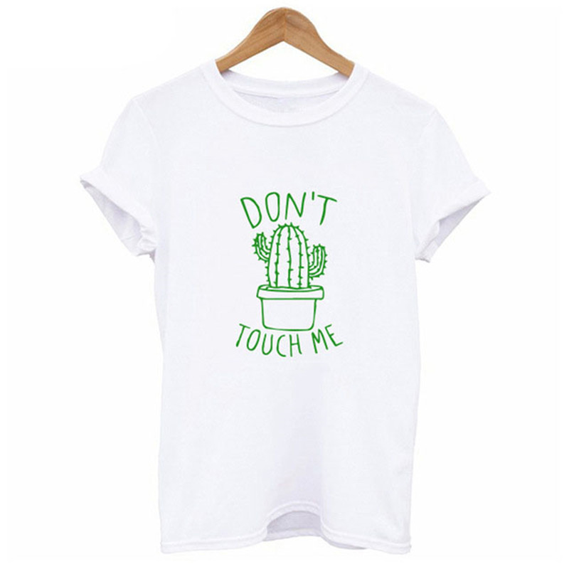 HTB1cKXYe.KF3KVjSZFEq6xExFXan - S-XXL DON'T TOUGH ME Cactus T shirt Women Casual Summer Tshirts Cotton Femme tops & tees Vintage Black White Red T-shirt Women
