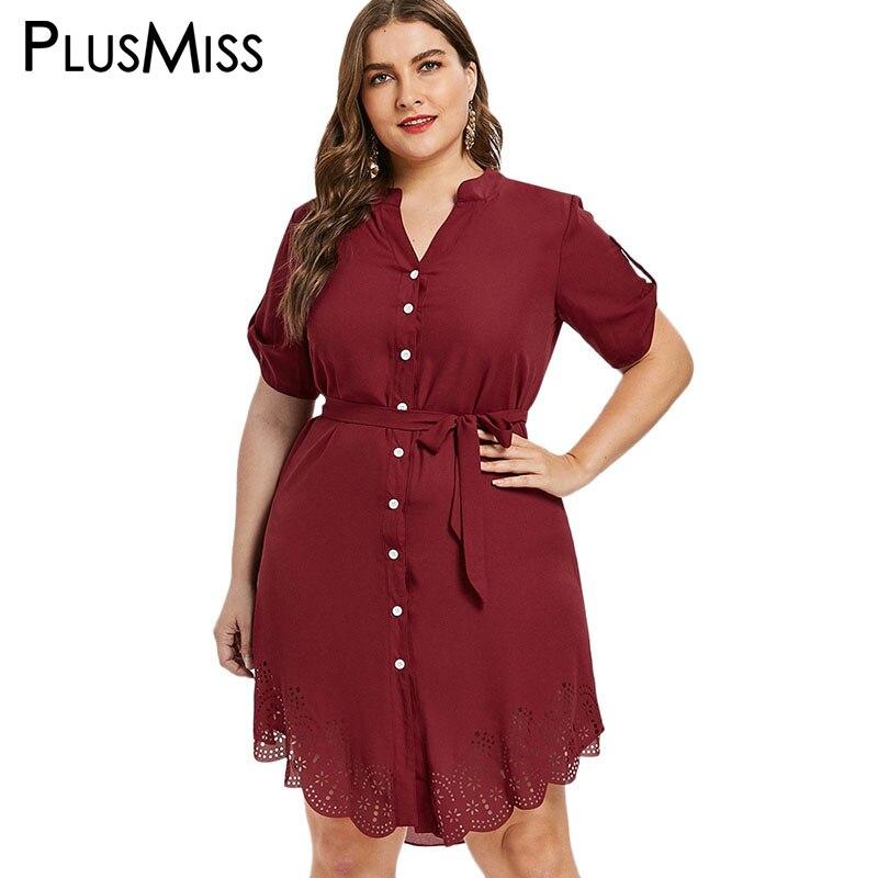 PlusMiss Plus Taille 5XL 4XL XXXL Rouge Festonné Ourlet Tunique Chemise Robe avec Ceinture Bureau Dames Roulé Manches Robe Femmes grande Taille