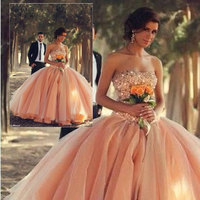 IM173 New Arrival Sweetheart Sexy Backless Orange Beading Ball Gown Prom Dress Quinceanera Dresses For 15 16 vestidos de 15 anos
