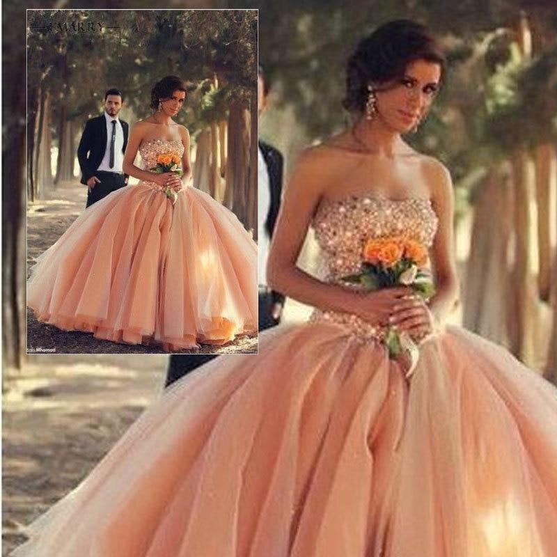 IM173 nouveauté chérie Sexy dos nu Orange perles robe de bal robe de bal Quinceanera robes pour 15 16 vestidos de 15 anos