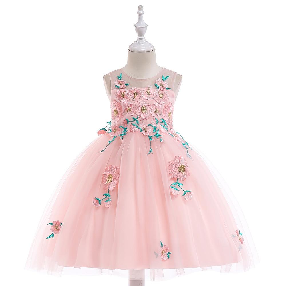 2018 Lovely Pink Little   Flower     Girls     Dresses   Lace 3D Hand Made   Flowers   Sleeveless Bowk Peagent Formal Wear   Dresses