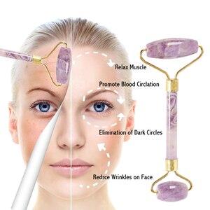 Image 5 - High grade Metal Facial Massage Roller Natural Amethyst Jade Roller Slimming Anti Wrinkle Cellulite Beauty Crystal Stone Tool