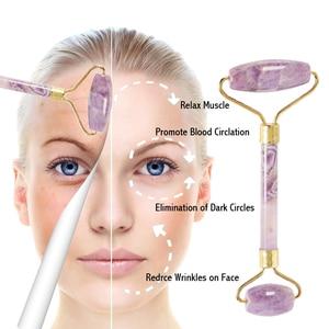 Image 5 - Wysokiej jakości metalowe przyrząd rolujący do masażu twarzy naturalny ametyst rolka jadeitowa odchudzanie przeciw zmarszczkom cellulitu urody kryształ kamienia narzędzia