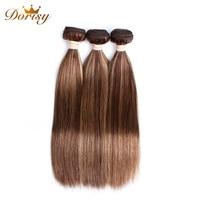 P4/27 Color Brazilian Straight Hair Weave 3 Bundles 100% Human Hair weaving 8 26inch Non Remy Hair Extension Dorisy Hair