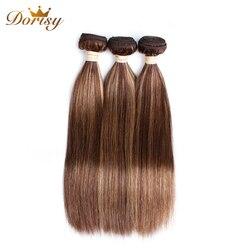 P4/27 Kleur Braziliaanse Steil Haar Weave 3 Bundels Menselijk Haar weven 8-26inch Non-Remy haarverlenging Dorisy Haar