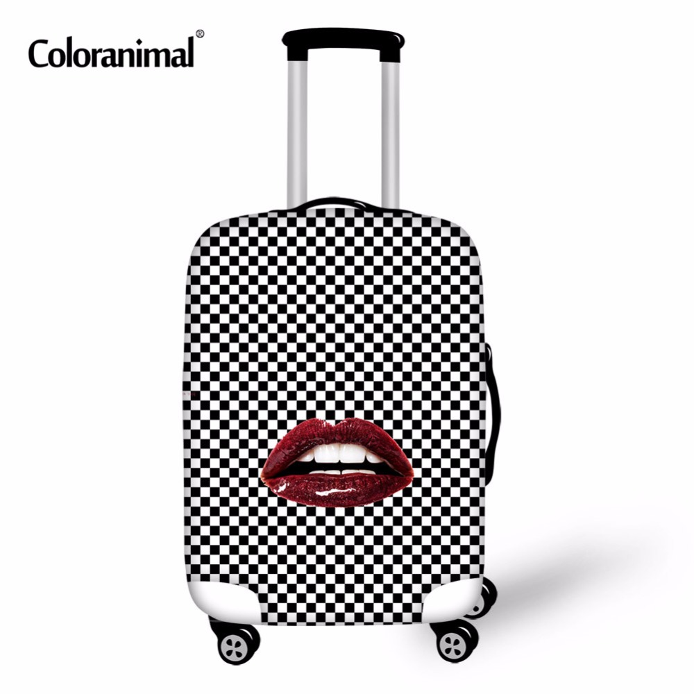 Coloranimal Red Lip Lattice Print Luggage Cover Trolley Suitcase Protective Cover Elastic Luggage Case Travel Accessories Covers