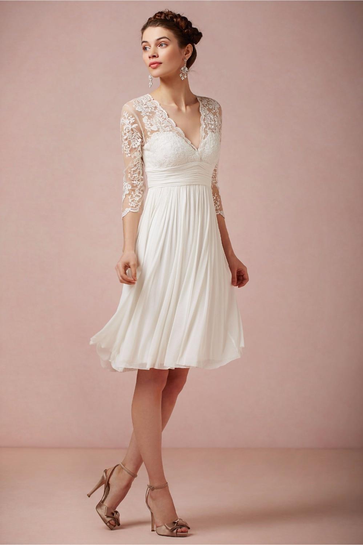 Vestido De Noiva Curto 2015 Cheap Summer Beach Lace V neck Ivory ...