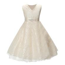 SQ253 Девушки наряды одежда для детей лето рукавов кружева принцесса свадебное платье девочки-подростки хорошо партия платье выпускного вечера