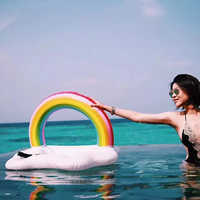 Inflatable Swimming Pool Float Ice Bucket Rainbow Cloud Cup Holder Beer Drink Table Bar Tray Summer Party Toys Beach Accessories