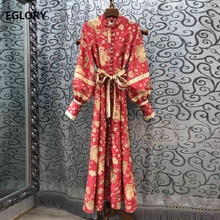 High Quality New 2019 Autumn Long Dress Women Vintage National Style Print Tunic Buttons Sleeve Maxi Party Lady