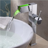 No Need Battery Water Powered Watercharming Torneira Banheiro Color Changing LED Waterfall Was Basin Mixer Vessel Faucet