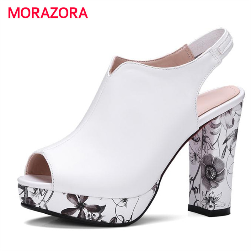 MORAZORA 2017 Summer shoes platform square high heels party shoes elegant fashion women pumps big size 34-42 peep toe купить