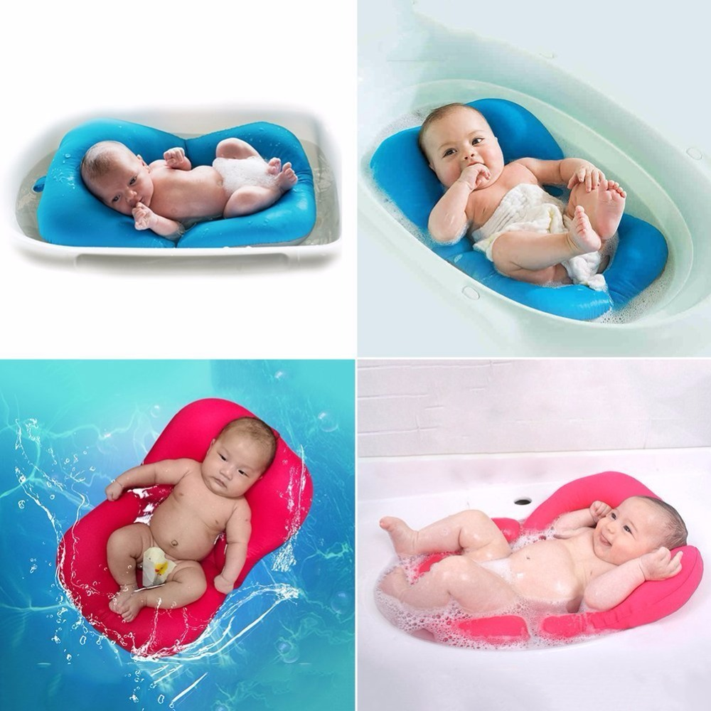 Soft Baby Bath Pillow Pad Infant Lounger Air Cushion Floating Bather ...