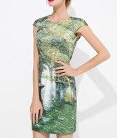 여성 드레스 녹색 풍경 인쇄 우아한 민소매 최소 Casal 드레스 k538