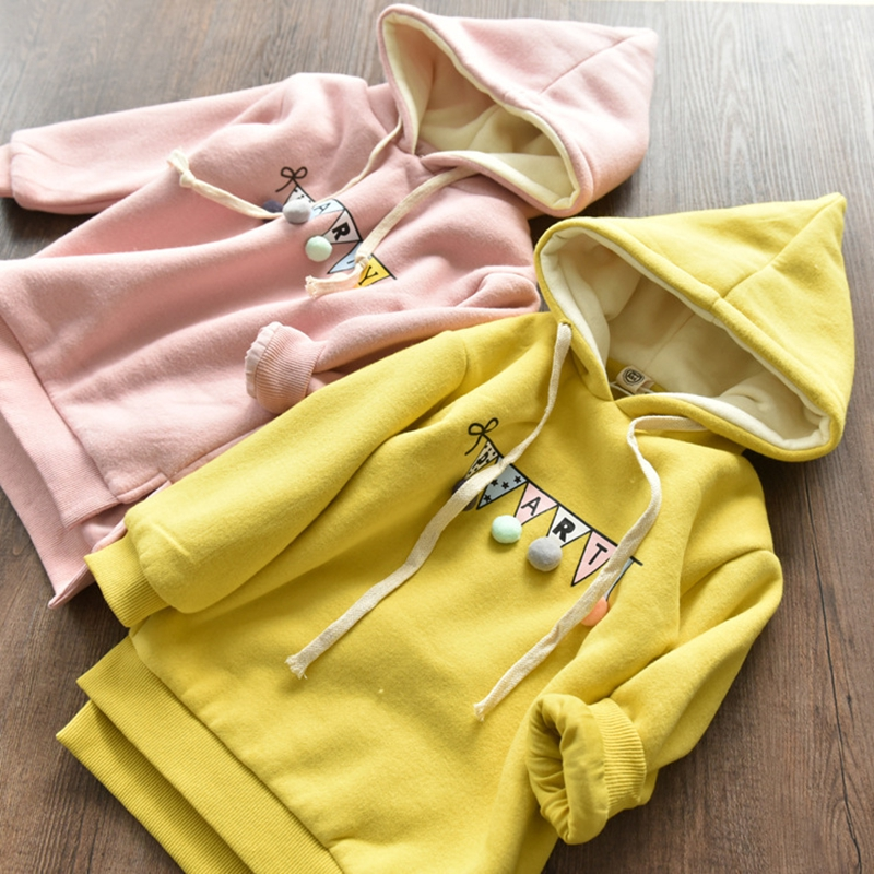 Girl Kids Sweatshirt 2018 2-10Y Baby Girls Casual Long Sleeve Soild Thicken Pullover Tops Medium Long Style round neck stripe embellished long sleeve loose fitting thicken sweatshirt for men