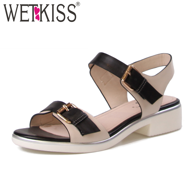 WETKISS Genuine Leather Women Sandals Chunky Heel Fashion Casual Ladies Sandals 2018 New Summer Buckle Stitching Woman Shoes