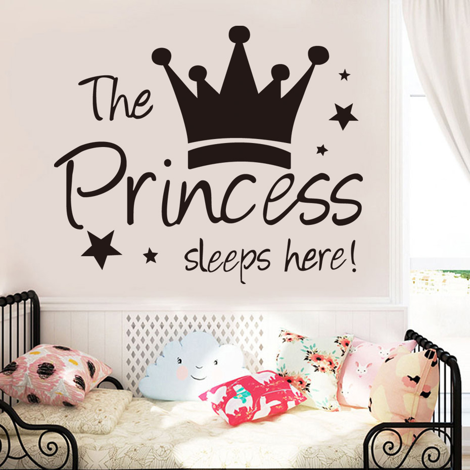 DCTOP The Crown Princess Sleep Here Star Wall Stickers For Kids Room Wall Decals Waterproof Removable Wallpaper Home Decoration