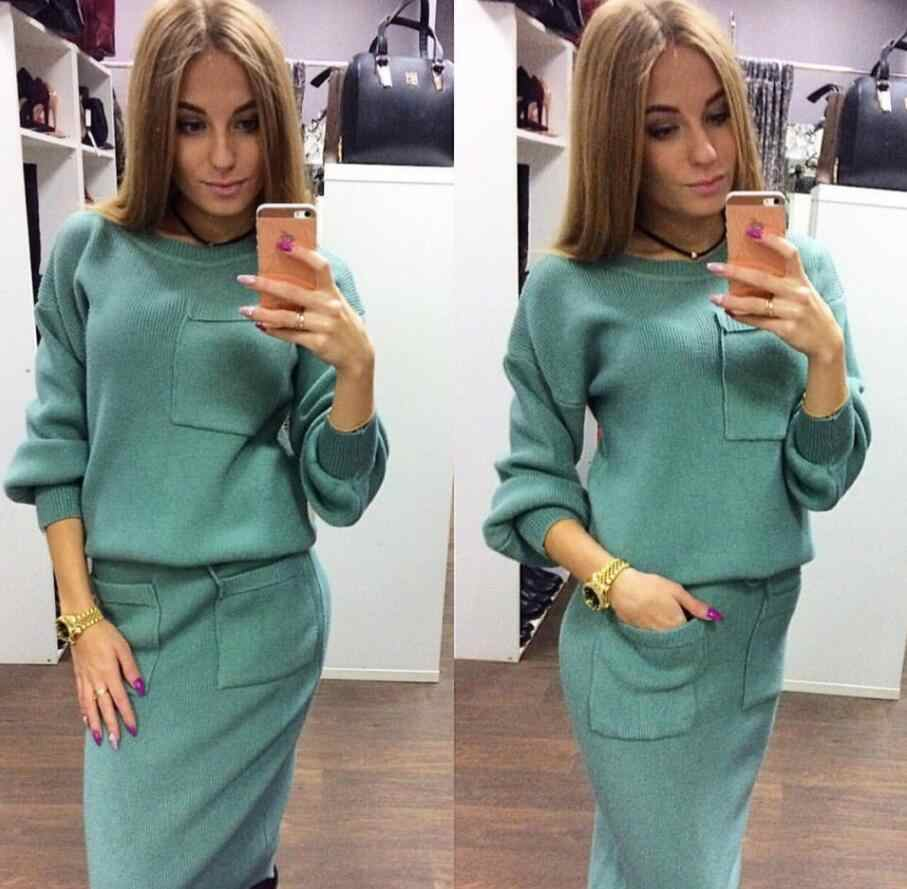 Tracksuits Limited Rushed Cotton Full Pockets O-neck Mid-calf 2018 Women Suit Contracted Knitted Sweater + Bust Skirt