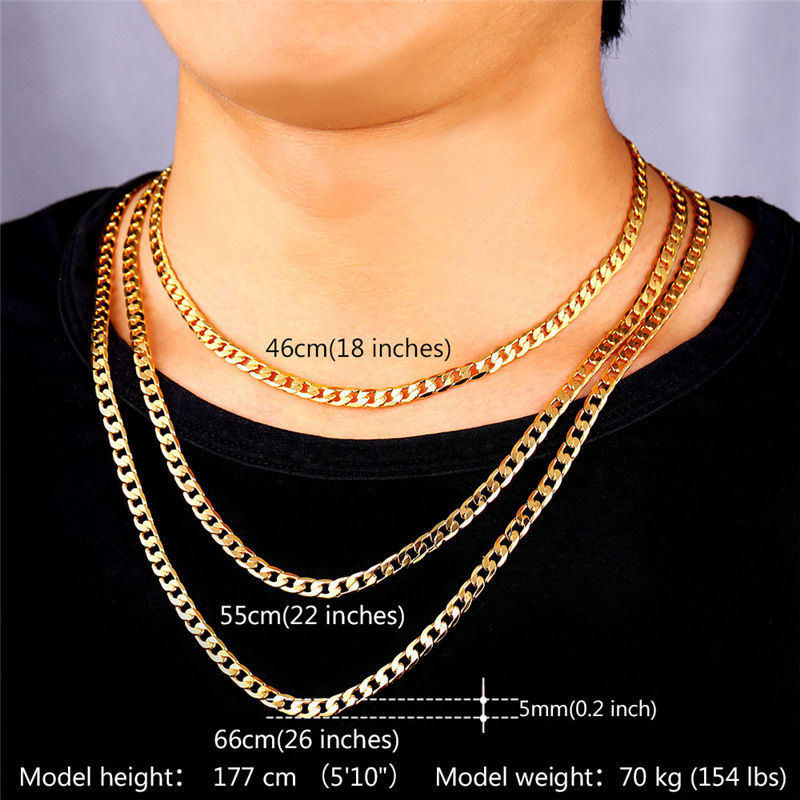 curb itm mens necklace chain ebay yellow gold mm link img hollow inches cuban