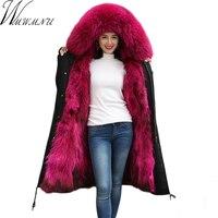 2018 новые зимние Для женщин парка с мехом длинные натуральный мех енота меха с капюшоном пальто натуральным лисьим мехом лайнер утолщаются Т
