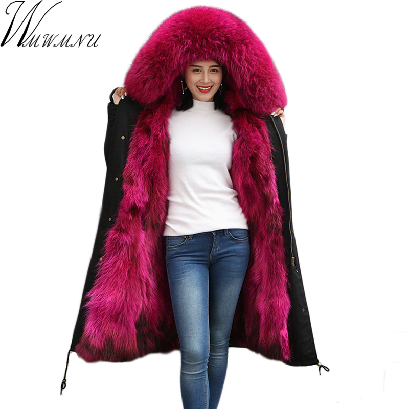 2018 New Winter Women Fur Parka Long Natural raccoon Fur Hooded Coat Real fox Fur Liner Thicken Warm Winter Jacket