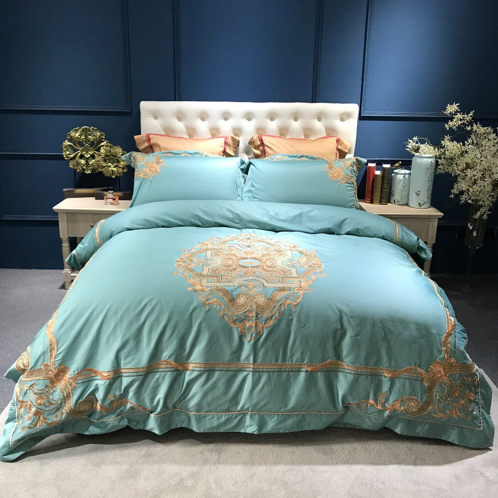 New Europe luxury Embroidery Bedding Sets 100% Egypt Cotton 100s Duvet/Quilt Cover Bed Linen Sheet Set Queen King Size SatinNew Europe luxury Embroidery Bedding Sets 100% Egypt Cotton 100s Duvet/Quilt Cover Bed Linen Sheet Set Queen King Size Satin