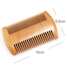 Double Side Pear Wood Beard Comb with PU Leather Bag  Antistatic Beard Care Portable Hair Brush Comb For Men