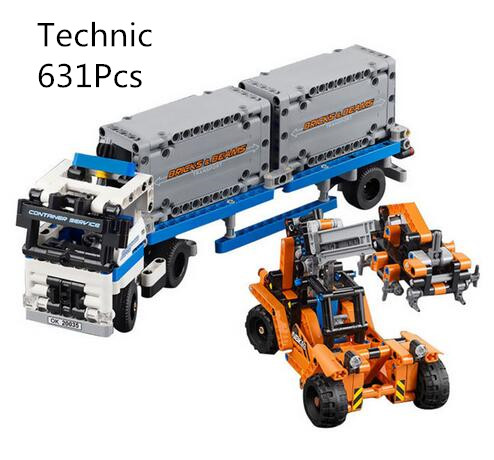 CX 20035 631Pcs Model building kits Compatible with Lego 42062 the Container Trucks and Loaders Set Brick figure toy for childre lepin 20035 new 631pcs technic series the container trucks and loaders set building blocks bricks educational toys with 42062