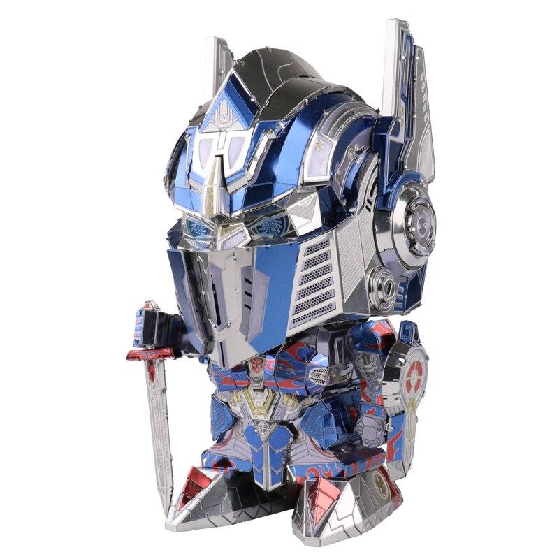 2018 MU 3D Metal Puzzle TF Optimus Prime reemplazable cabeza modelo DIY Laser Cut Jigsaw modelo para adultos juguetes de escritorio decoración