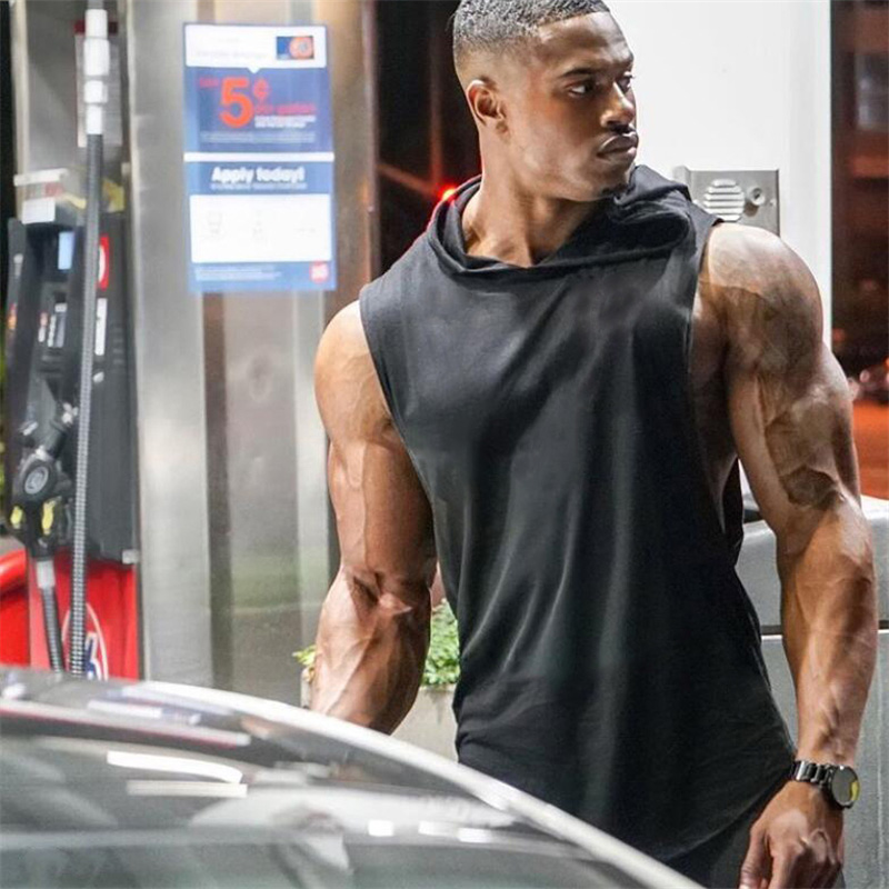 2019 Summer New Brand Solid Sleeveless Shirt Casual Fashion Hooded   Tank     Top   Men Sporting bodybuilding Fitness clothing