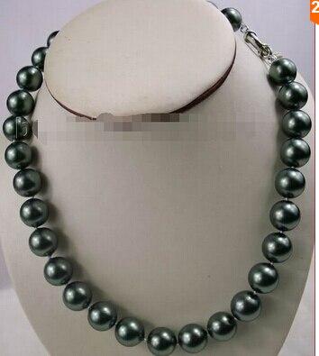 ed9248f20e92 12mm Encanto del Sur Mar Negro Shell collar de perlas 17   fábrica precio  al por mayor mujeres giftword joyas