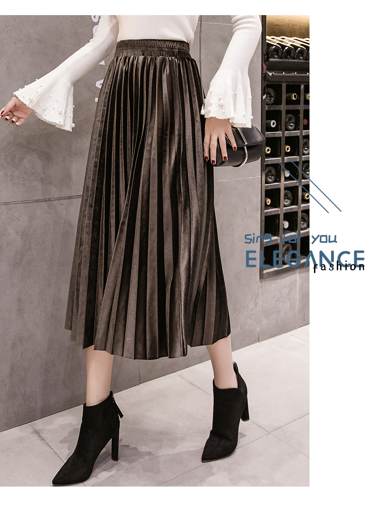 New Pleated Skirt Half-length for Winter Women Party Casual