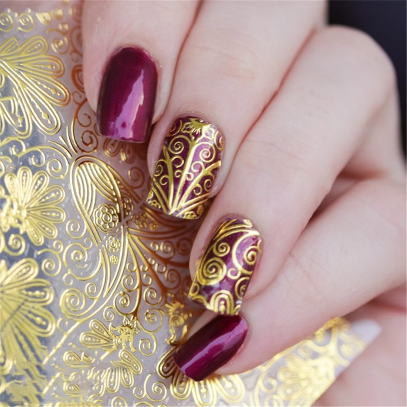Nail Art Stickers: 1 Sheet Embossed Flower 3D Nail Stickers Blooming 3D Nail
