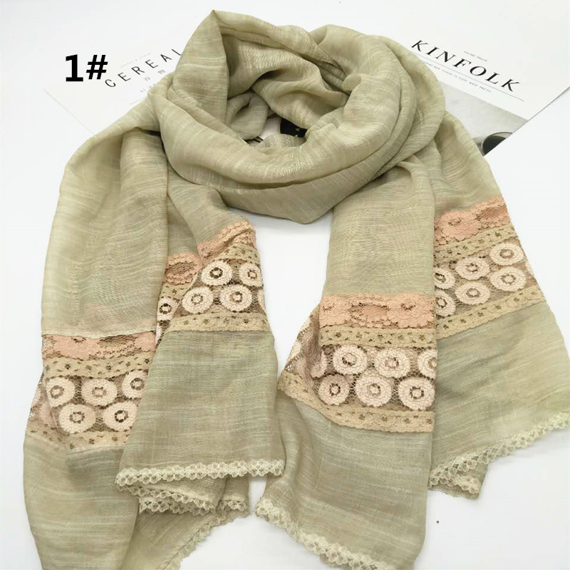 8 colors hot sell new Colorful flower pattern lace fashion nifty high quality scarf soft Muslim hijab Unique design wholesale