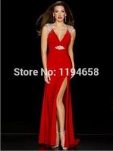 2016 Sexy V-ausschnitt Kristall Perlen Open Back Prom Kleider Lange Red Abendkleid 42942 P