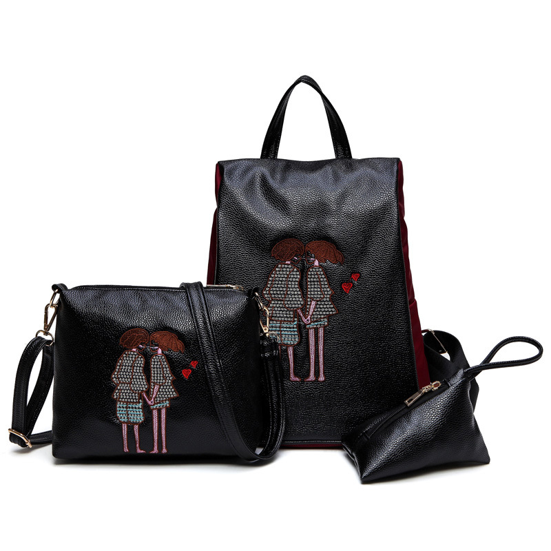 Ladies backpack  new  fashion embroidery double back three cap mother bag anti-theft backpack wholesale embroidery basis book 500 kinds of three dimensional embroidery patterns