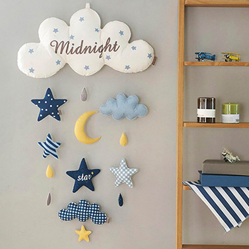 Diy Toy Non-woven Baby Bed Hanging Bell Cloud Balloons Star Rocket Wall Decoration Needlework
