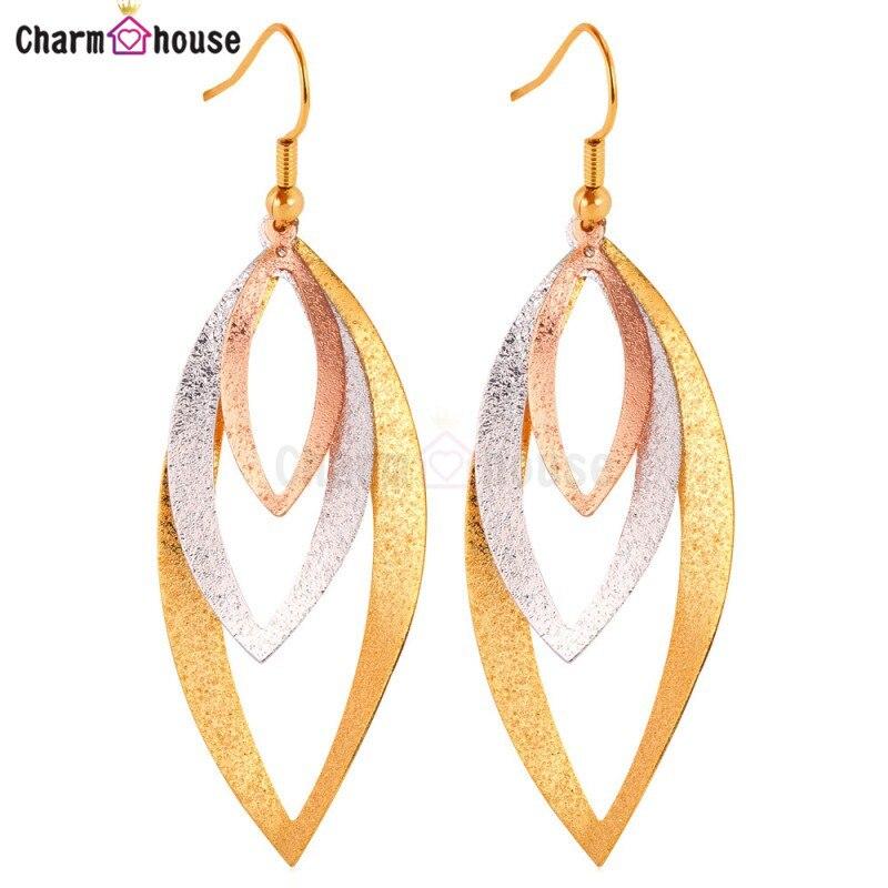 New Fashion Wedding Earrings for Women Oval Leaf Earrings Gold Color Dubai Jewelry Tassel Earring Christmas Gift Free Box Brinco