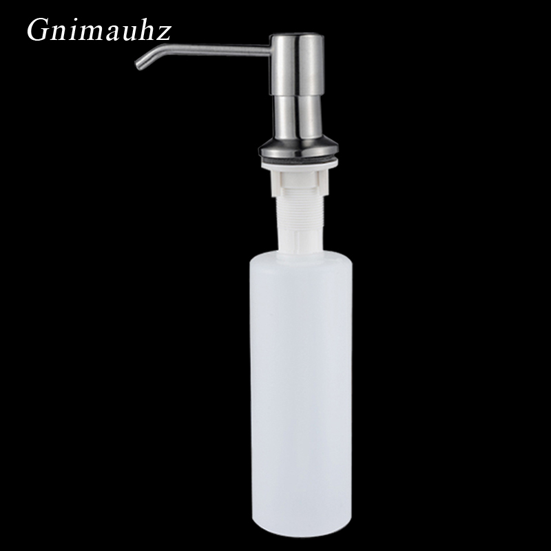 Soap Dispenser Pump Countertop Liquid Dish Hand Pump Replacement Kitchen Sink Soap Dispenser Stainless Steel Head Plastic Bottle